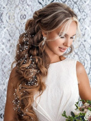 FXmimior 100cm Super Long Bridal Wedding Crystals Love Long Hair Vine Wedding Evening Party Headpiece