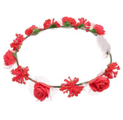 Fullkang Women Roses Floral Headbands Glowing Flower Party Hair With Lights
