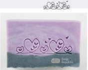 SoapRepublic Fancy Border with Hearts Acrylic Soap Stamp / Cookie stamp