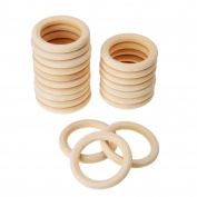 eBoot 20 Pack Wood Rings Wooden Rings for Craft, Ring Pendant and Connectors Jewellery Making