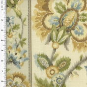 Braemore Ikat Floral Stripe Print Beige Home Decorating Fabric, Fabric Sold By the Yard