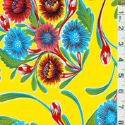 Yellow Floral Oilcloth, Fabric Sold By the Yard