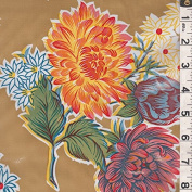 Tan Floral Oilcloth, Fabric Sold By the Yard
