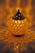 Hashcart Akhand Diya Decorative Brass Crystal Oil Lamp Tea Light Holder Lantern Puja Lamp