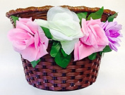Childrens Bike Basket BROWN With Flowers Traditional Plastic Wicker Style
