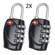 F-Travel 4 Digit Combination Padlock TSA Approved Luggage Lock Number Code Lock for Travel Suitcases Luggage Bag School Gym Lockers Filing Cabinets Toolbox Case 2 Pack