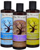 Dr. Woods Pure Liquid Castile Soap with Organic Shea Butter Variety Pack -- Raw Black, Peppermint & Tea Tree Soap, 240ml