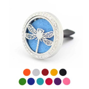 Car Air Freshener Aromatherapy Essential Oil Diffuser -Rhinestones Dragonfly Stainless Steel Locket,11 Refill Pads