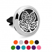Car Air Freshener Aromatherapy Essential Oil Diffuser -Maple Leaf Stainless Steel Locket,11 Refill Pads