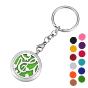 Aromatherapy Essential Oil Diffuser Key Chain-Music Notes Stainless Steel Locket Pendant Keychain,12 Refill Pads