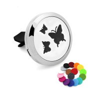 Car Air Freshener Aromatherapy Essential Oil Diffuser-Butterfly Stainless Steel Locket,17 Refill Pads