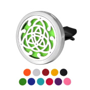 Car Air Freshener Aromatherapy Essential Oil Diffuser-Celtic Knot Stainless Steel Locket,11 Refill Pads