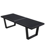 LeisureMod Mid-Century George Nelson Style Platform Bench in Black Wood 1.2m
