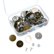 Outus 40 Sets Jeans Buttons Metal Tack Button Snap Button for Jeans with Storage Box, 2 Patterns, Bronze and Silver Colour