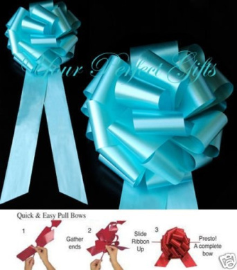 10 pcs Teal Blue Wedding 23cm Pull Pew Bows Church Bridal Cake Gift Decoration Chair Table Centrepiece Event Ceremony PB146