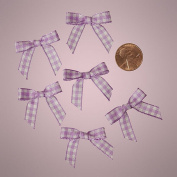 Mini Lavender Purple and White Chequered Gingham Bows
