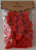 2.5cm Red Pom Poms - Package of 30