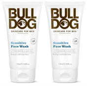 Bulldog Skincare Sensitive Face Wash for Men (Pack of 2) With Cedarwood, Green Tea Leaf Extract, Cedarwood Oil and Other Natural and Organic Ingredients, 150ml