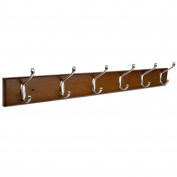 HOMFA Bamboo Hook Rack with 6 Dual Scroll Wall Hanger Hooks for Jackets, Coats, Hats, Scarves Retro colour