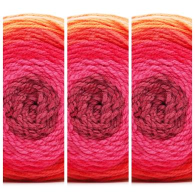 3 Skeins Bernat Pop Yarn in Scarlet Sizzle 84001