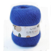 Celine lin One Skein Soft Natural Angola Mohair Wool Knitting Yarn 50g,Blue