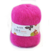 Celine lin One Skein Soft Natural Angola Mohair Wool Knitting Yarn 50g,Rose red
