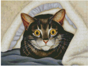 Cat in carpet cross stitch kits, 14ct, Egyptian cotton thread 200x150 stitch, 46x37cm cat cross stitch kit