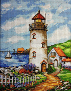 "Needlepoint Kit ""The lighthouse"" 9""x11.8"" 23x30cm printed canvas cod.070"