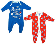 BABY BOYS 2 PACK ENGLAND LITTLE MASCOT COTTON SLEEPSUITS EX STORE