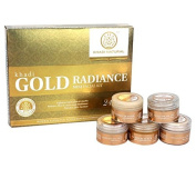 Khadi Natural Herbal Ayurvedic Gold Radiance Mini Facial Kit with Cleanser, Gel Scrub, Massage Cream, Facial Gel, and Facial Pack for All Skin Types