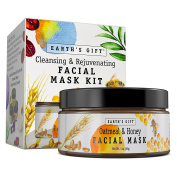 Oatmeal & Honey Facial Mask Kit For Women and Men. 100% All Natural & Antioxidant Rich. Cleanses and Rejuvenates Your Skin. 10 Applications. Enjoy Being You