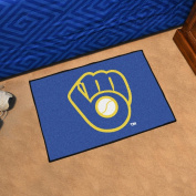 "MLB Milwaukee Brewers ""Ball In Glove"" Starter Rug, 50cm x 80cm /Small, Black"