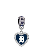 Detroit Tigers Crystal Heart Charm