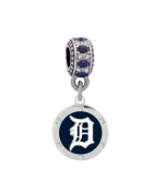 Detroit Tigers Round Crystal Charm