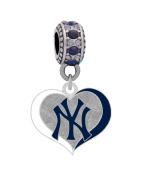 New York Yankees Swirl Heart Charm
