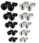 Wening 316L Stainless Steel Round Ball Stud Earrings, Assorted Sizes 3-7mm
