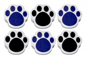 Lot of 6 - Plastic Paw Print Magnetic Memo Clips, Large, Sturdy, Black & Blue Mix.