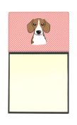 Caroline's Treasures Checkerboard Pink Beagle Refillable Sticky Note Holder or Postit Note Dispenser, 8.3cm by 14cm , Multicolor