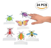 24PCS Mseeur Fun Express DIY Insect Finger Paper Puppets Party Favours Toy, DIY Finger Paper Puppets You Can Paint The Colours You Want Without Coloured Paintbrush.