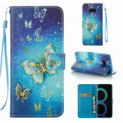 EC-touch Simple Beautiful Colourful Flower [Magnetic] Style PU Leather Case Wallet Flip Stand [Flap Closure] Cover for Samsung Galaxy S8,S8 Plus