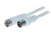 Antenna Cable 1.5 M F-Connector Coax Straight IEC Socket White 100% Shielded, White, _ 90 db, BZT- CE, RoHS