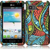 HR Wireless LG Optimus F6 Side Stand Cover with Holster - Retail Packaging - Black/Dark Blue