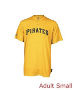 Majestic Pittsburgh Pirates Adult Small 2-Button Cool Base Performance Shirt - Gold