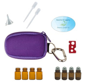 Essential Oil Keychain Travel Bag Carrying Case (Purple), 2ml Roller Bottles and Euro Orifice Reducer Bottles, Bottle Opener, Funnel, Pipettes