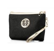 Flyusa Fashion Shiny Travel Toiletry Bag Cosmetic Makeup Pouch Clutch Handbag Bag Black