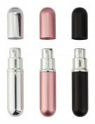 Perfume Atomiser Bottles, Refillable Travel Size, Set Of 3 . Colours Black, Pink and Silver Anti Spill Funnel Included