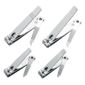 4 Pcs Professional Stainless Steel Toenail Clipper and Fingernails by QLL - Swing Out Nail Cleaner / File - Sharpest Stainless Steel Clipper - Wide Easy Press Lever – Best Quality Nail Cutter