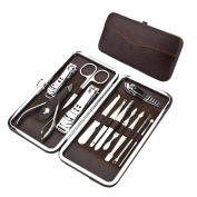 Manicure Pedicure Kit - 12 PCS Nail Clippers Set, Professional Grooming Kit, Nail Tools with Brown Travel Case