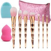 Make Up Brushes Set, Vodisa 7pcs Rose Gold Makeup Brush Tool Kits Blending Powder Foundation Eye Eyebrow Lip Contour Concealer Face Brush+Beauty Cosmetics Blender Sponge+ Brush Cleaner + Storage Bag