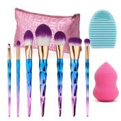 Make Up Brushes Set, Vodisa 7pcs Colourful Makeup Brush Tool Kits Blending Powder Foundation Eye Eyebrow Lip Contour Concealer Face Brush+Beauty Cosmetics Blender Sponge+ Brush Cleaner + Storage Bag